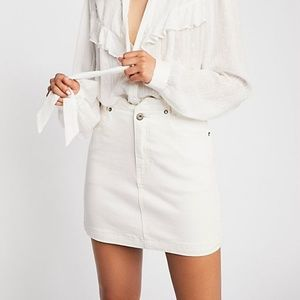 FREE PEOPLE denim white mini skirt all that high